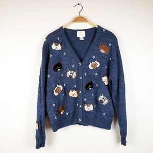 VTG Hand Embroidered Crazy Cat Lady Blue Cardigan